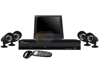 "Night Owl NB4 4C115 8LCD Compact H.264 4 Channel Network DVR (No Hard Drive) with 4 CMOS Night Vision Cameras, 3G/4G Smart Phone Access and 8"" Color LCD Security Monitor"