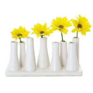 Torre & Tagus Eva Multi Tube Vase Wide Rectangle, White
